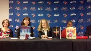 The Nonfiction Panel (from left to right) Melissa Jacobs-Israel, Sandra Athans, Me, Tonya Bolden, and Mark Stewart.